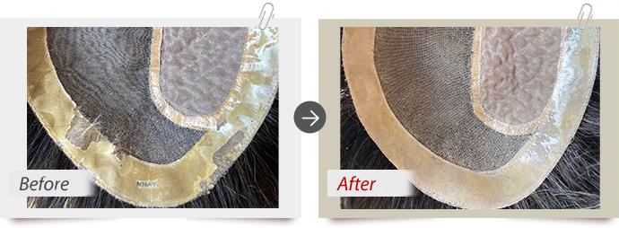 修理実例:汗や皮脂によるPUひび割れの為PU張替え交換